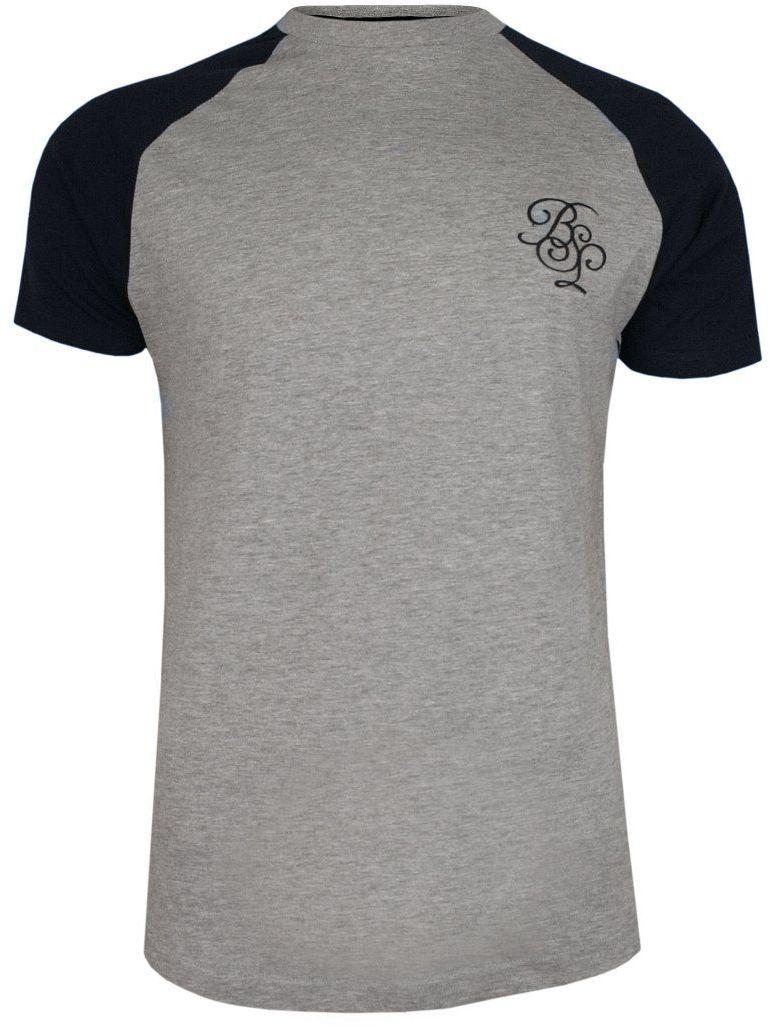 Szaro-Czarny Bawełniany T-Shirt Męski -Brave Soul- Koszulka, Krótki Rękaw, Logo TSBRSSS20MODELgreymarl