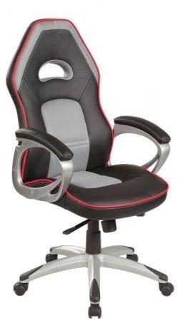 Fotel biurowy Q-055 czarny szary do komputera dla gracza  KUP TERAZ - OTRZYMAJ RABAT