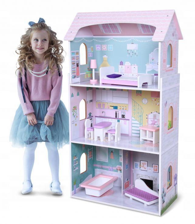 Drewniany domek dla lalek + mebelki, wysoka rezydencja Jagodowa Ecotoys