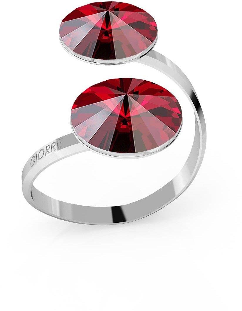 Srebrny pierścionek Swarovski rivoli 12mm, srebro 925 : Kryształy - kolor - Siam, Srebro - kolor pokrycia - Pokrycie platyną