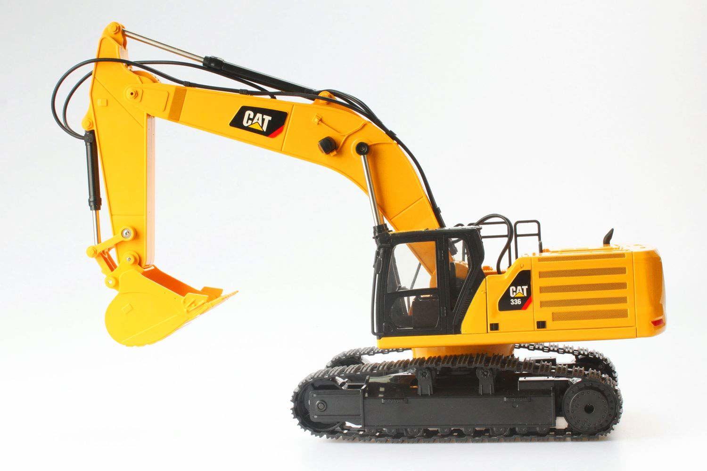 Diecast Masters 25001 - zdalnie sterowana koparka łańcuchowa Caterpillar RC 336 Next Gen, wierny szczegół, realistyczny pojazd budowlany CAT w 1:24, ok. 49 x 16,5 x 22 cm, ok. 25 m zasięgu, od 8 lat