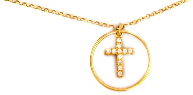Srebrny pozłacany naszyjnik 925 krzyżyk z cyrkoniami 3,46g