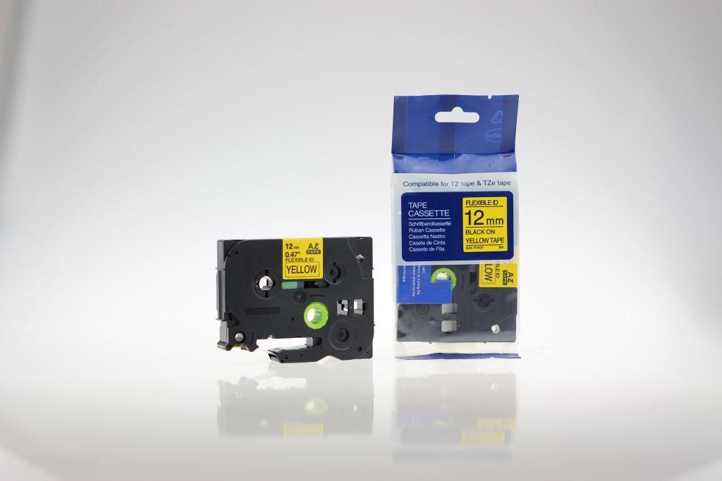 Taśma zamiennik do Brother 12mm/8m żółta flexi czarny nadruk TZEFX631