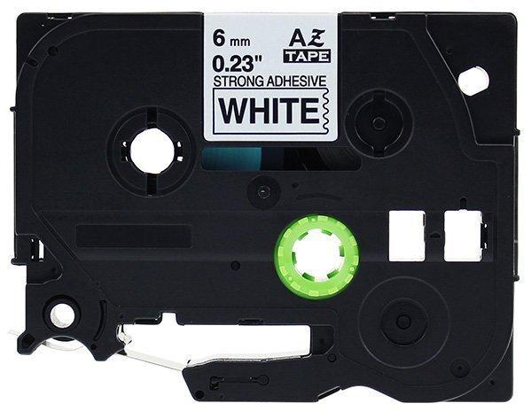 Taśma zamiennik do Brother 6mm/8m biała specjalna czarny nadruk TZES211