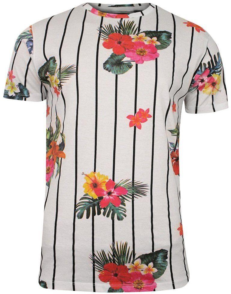 Biały Bawełniany T-Shirt Męski -Brave Soul- Koszulka, Krótki Rękaw, w Czarne Paski, Kolorowe Kwiaty TSBRSSS20CATTLEYAopticwhite