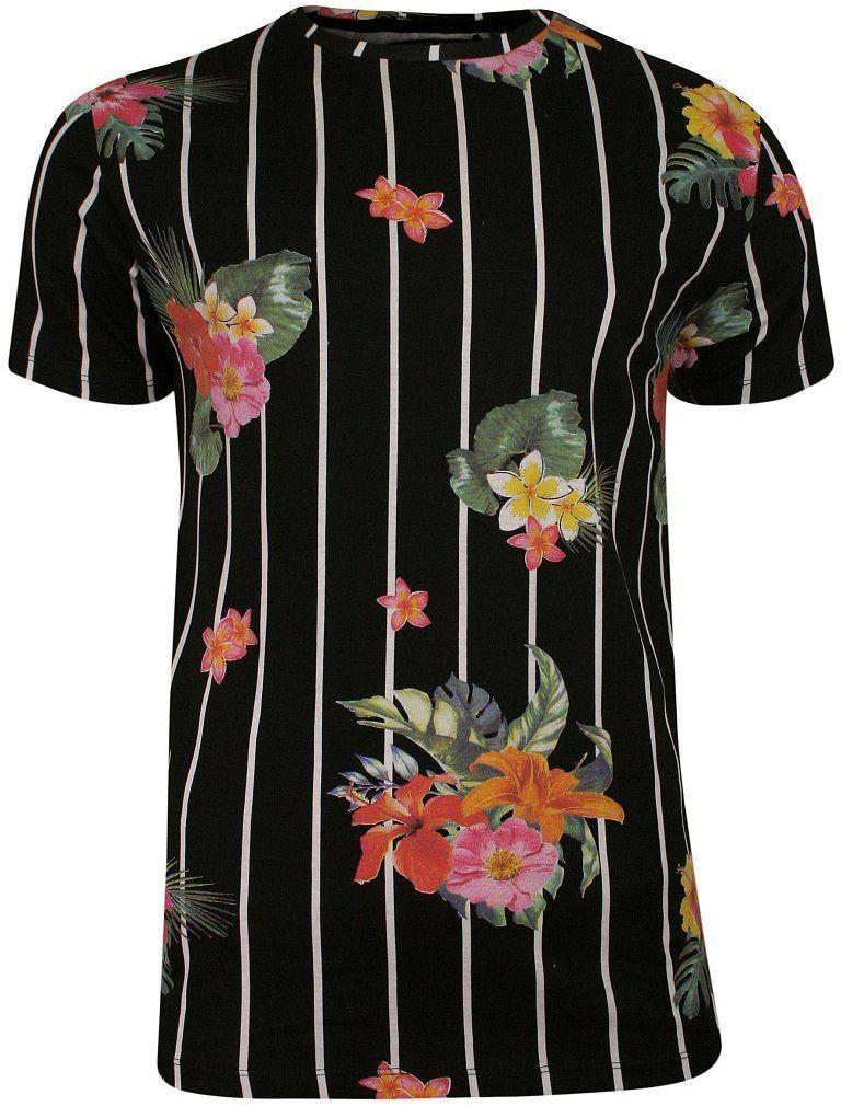 Czarny Bawełniany T-Shirt Męski -Brave Soul- Koszulka, Krótki Rękaw, w Białe Paski, Kolorowe Kwiatki TSBRSSS20CATTLEYAjetblack