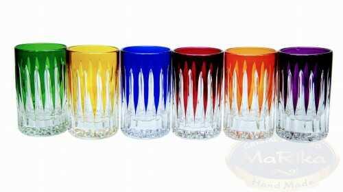 Kolorowe kryształowe kieliszki do wódki 30ml Linia 6 sztuk