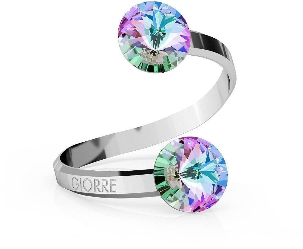 Srebrny pierścionek Swarovski rivoli 8mm, srebro 925 : Kryształy - kolor - Crystal VL, Srebro - kolor pokrycia - Pokrycie platyną
