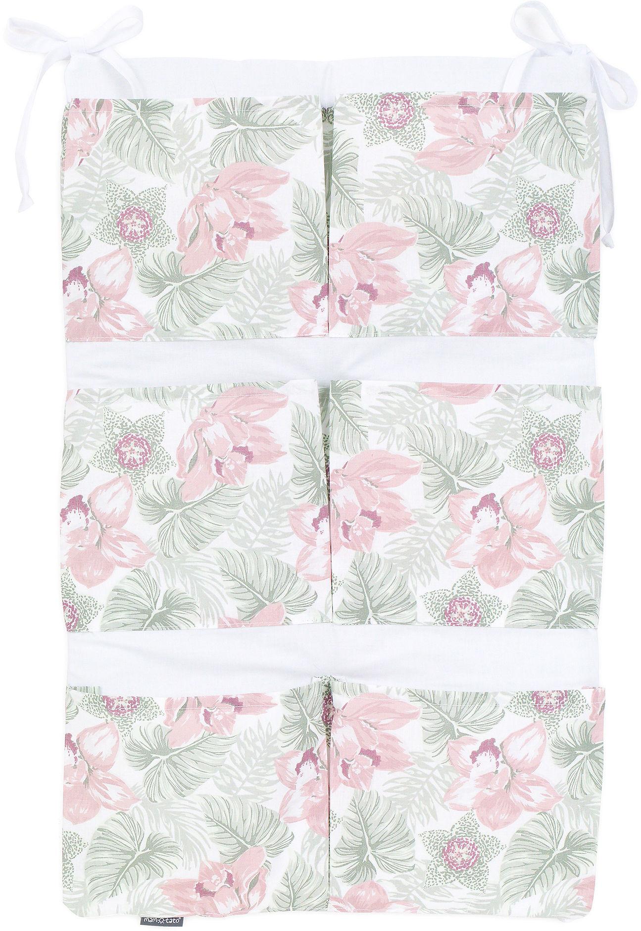 MAMO-TATO Przybornik BEST organizer na łóżeczko - Kwiaty w liściach