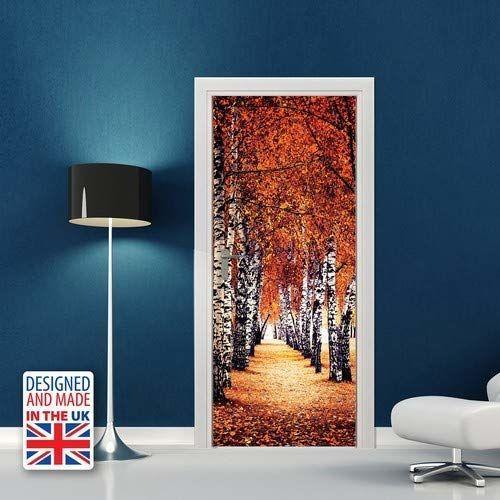WALPLUS WD10044 jesienna brzoza drzewo ścieżka naklejka ścienna, winyl, wielokolorowa, 103 x 5,4 x 5,4 cm