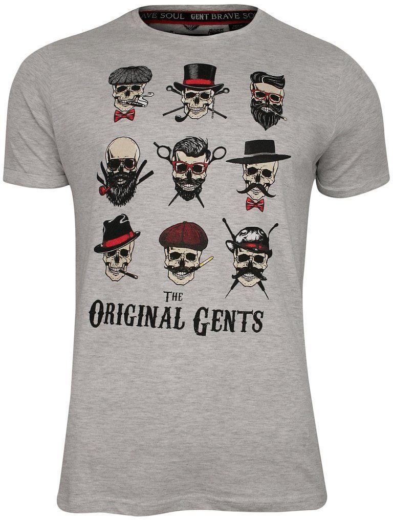 Szary Bawełniany T-Shirt Męski -Brave Soul- Krótki Rękaw, w Czaszki, Milord, Oryginalni Panowie TSBRSSS20BLINDERecruemarl