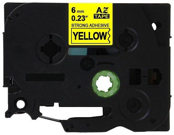 Taśma zamiennik do Brother 6mm/8m żółta specjalna czarny nadruk TZES611