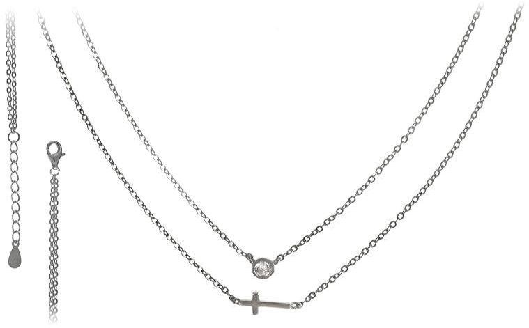 Srebrny naszyjnik 925 podwójny krzyż 3,5g cyrkonia