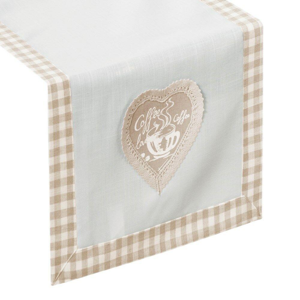 Obrus dekoracyjny 40x140 Brita kremowy beżowy serce filiżanka kratka Eurofirany