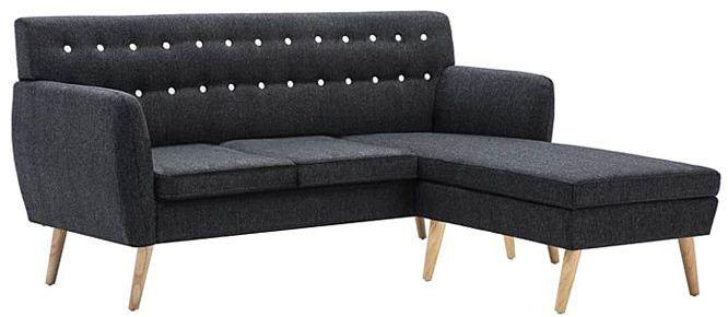 Tapicerowana pikowana sofa Larisa 2D - ciemnoszara