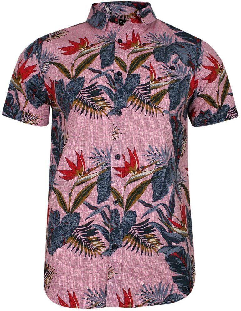 Różowa Bawełniana Koszula Męska, Krótki Rękaw, Prosty Krój -Brave Soul- w Kwiatki, Orientalna KSKCBRSSS20JUNTApink