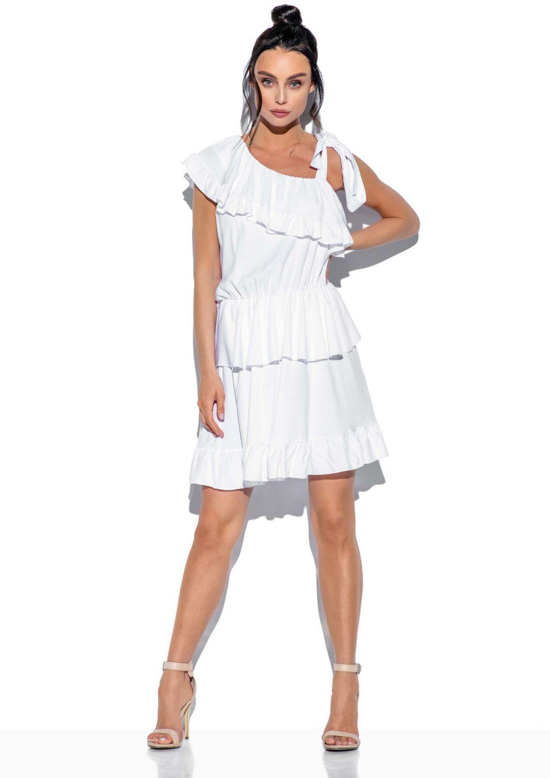 Sukienka na jedno ramię z falbanką kolor L336 biały