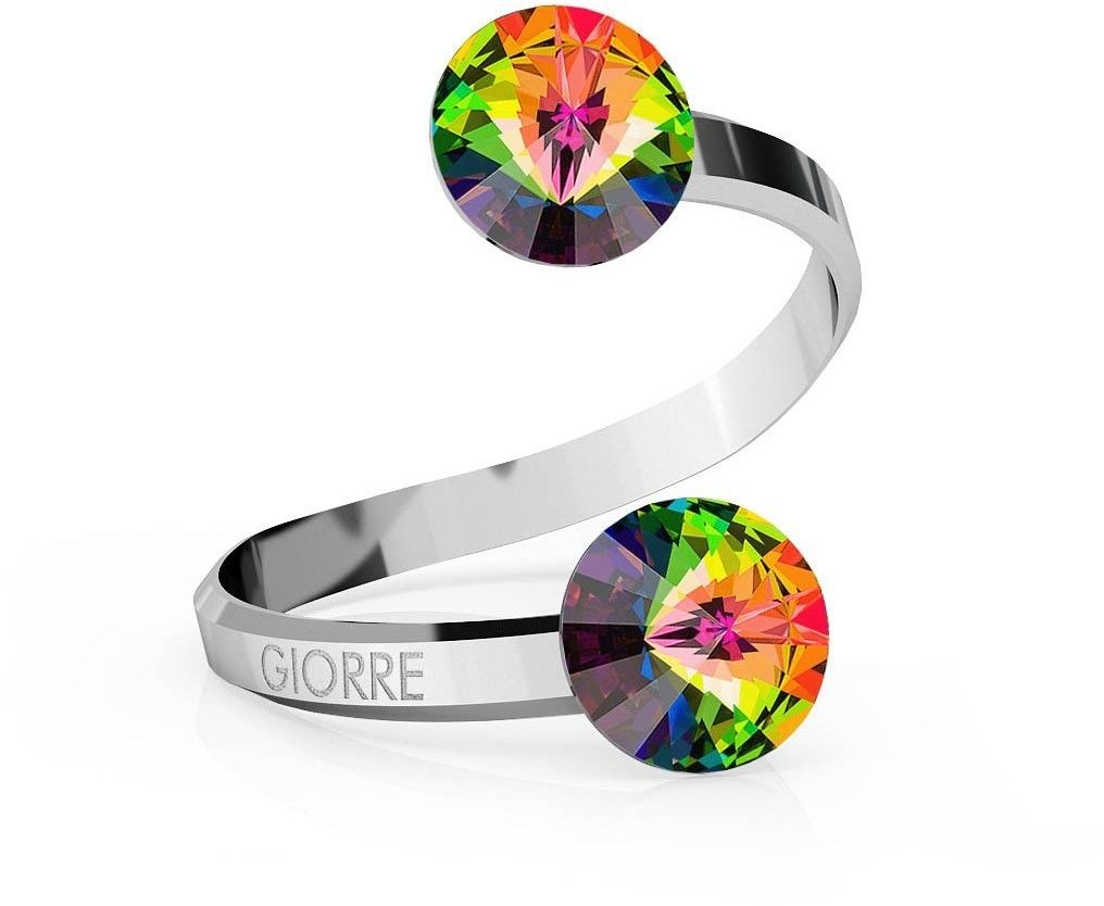 Srebrny pierścionek Swarovski rivoli 8mm, srebro 925 : Kryształy - kolor - Crystal VM, Srebro - kolor pokrycia - Pokrycie platyną