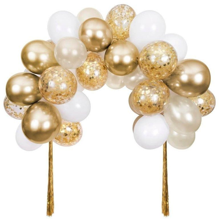 Girlanda balonowa z confetti - łuk, złota, meri meri