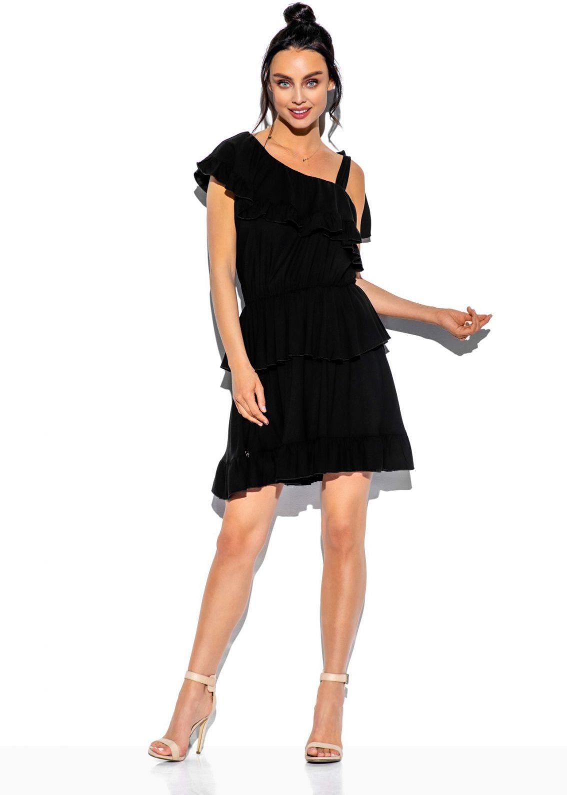 Sukienka na jedno ramię z falbanką kolor L336 czarny