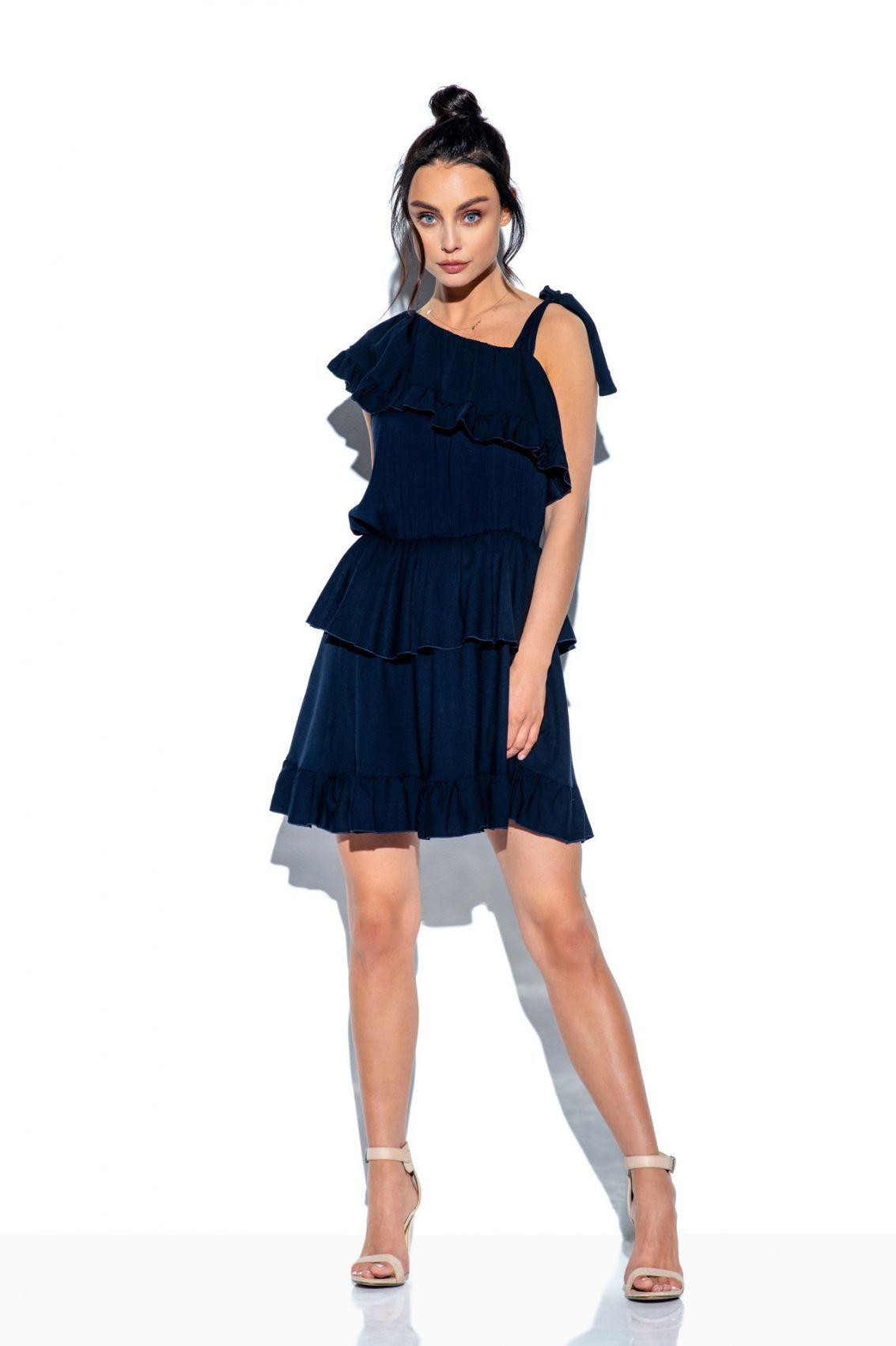 Sukienka na jedno ramię z falbanką kolor L336 granatowy