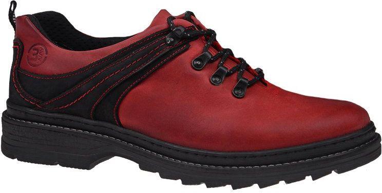 Półbuty KACPER 1-1639-370+109 Czerwone Czarne męskie