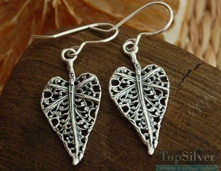 Liść serce - srebrne kolczyki