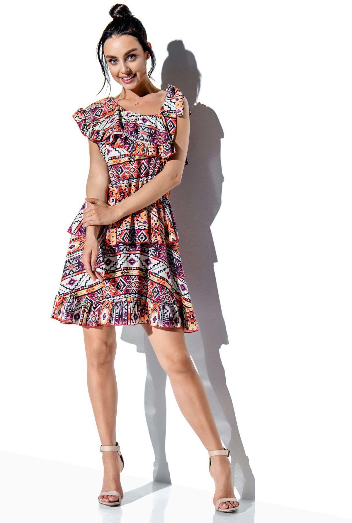 Sukienka z falbaną wiązana na jedno ramię wzór LG546 druk 19