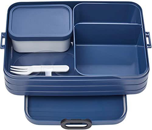 Mepal Bento-Lunchbox Take A Break Nordic Denim Large  pojemnik na kanapki z przegródkami, nadaje się do 8 kanapek, TPE/pp/ABS, niebieski, 0 mm