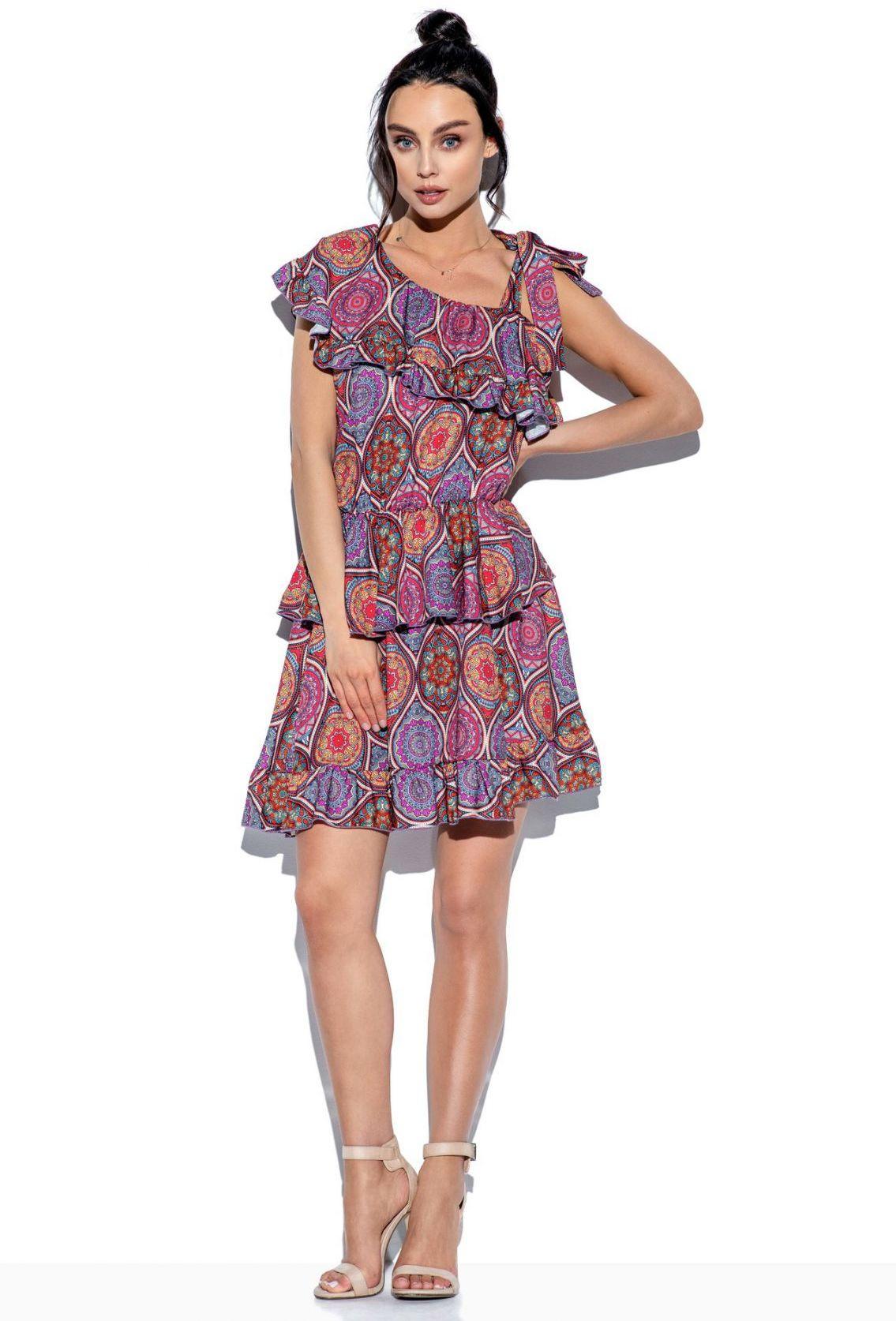 Sukienka z falbaną wiązana na jedno ramię wzór LG546 druk 20