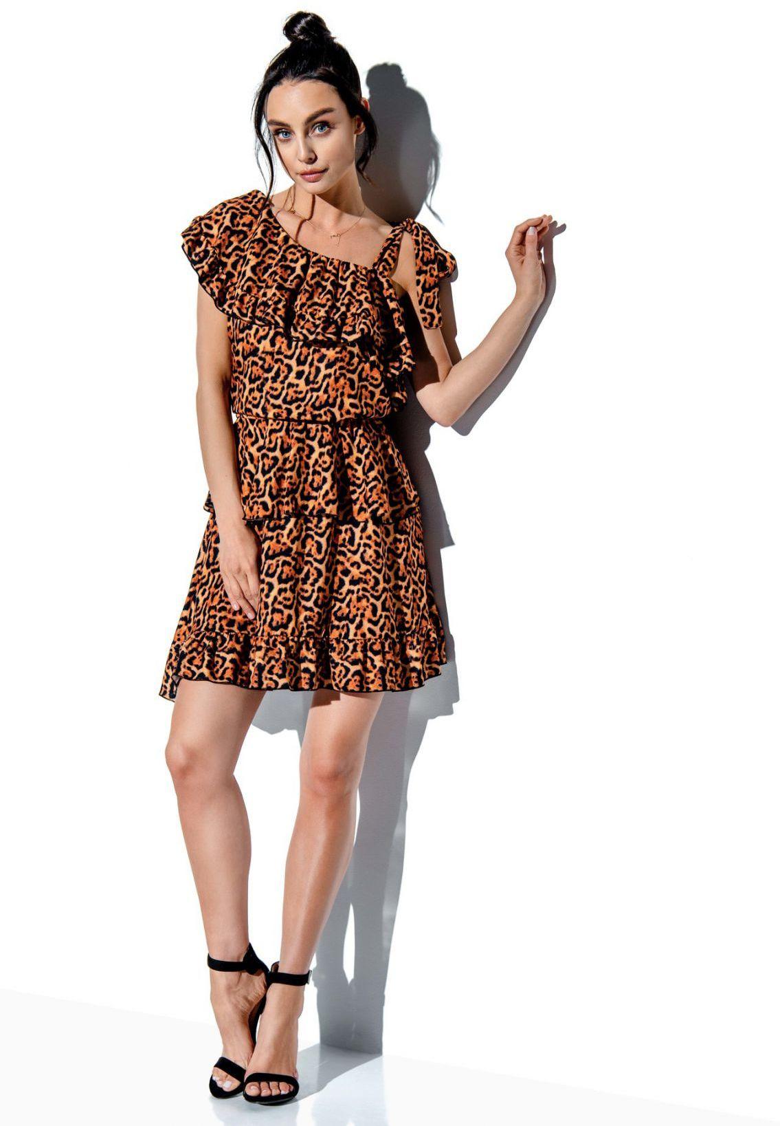 Sukienka z falbaną wiązana na jedno ramię wzór LG546 druk 21