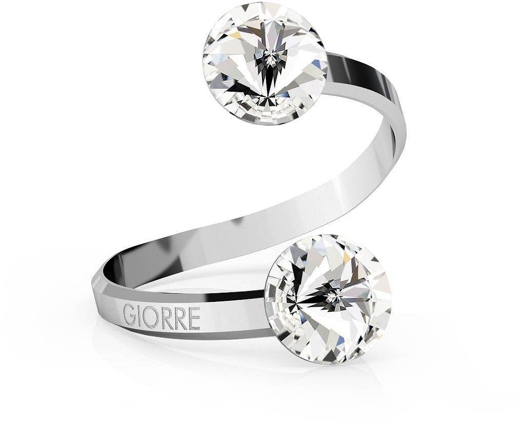 Srebrny pierścionek Swarovski rivoli 8mm, srebro 925 : Kryształy - kolor - Crystal, Srebro - kolor pokrycia - Pokrycie platyną