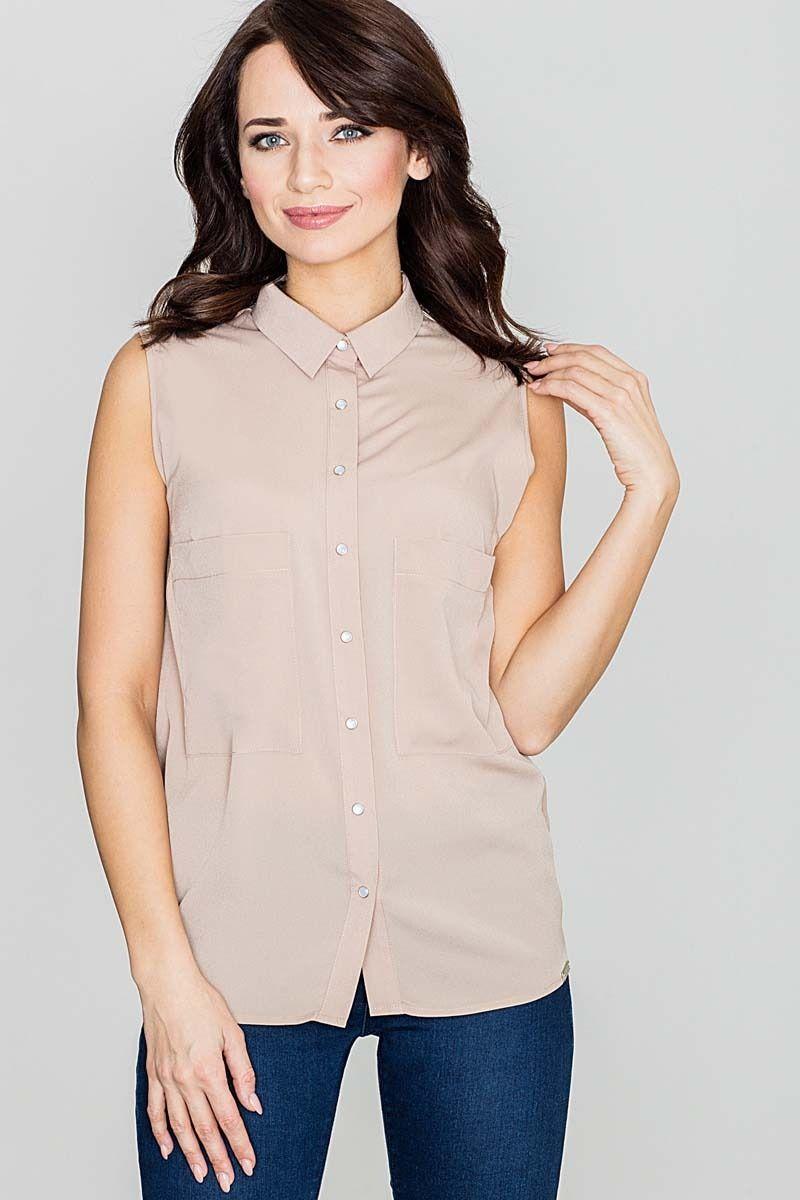 Beżowa bluzka koszulowa z rozcięciem na plecach