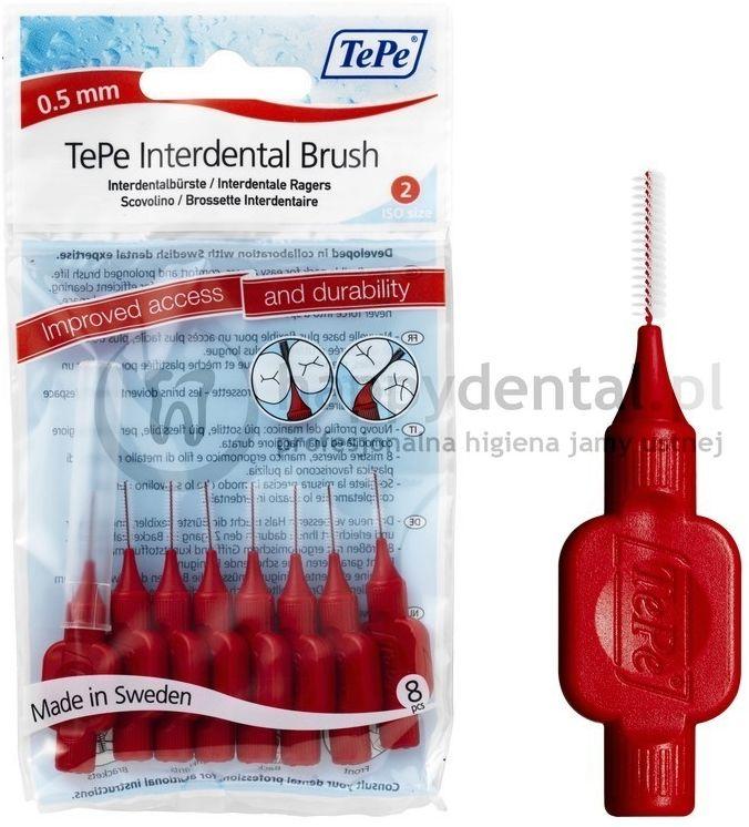 TEPE ID Original (0.5mm) czerwone 8szt. - zestaw szczoteczek międzyzębowych (szczoteczki w wersji ORIGINAL)