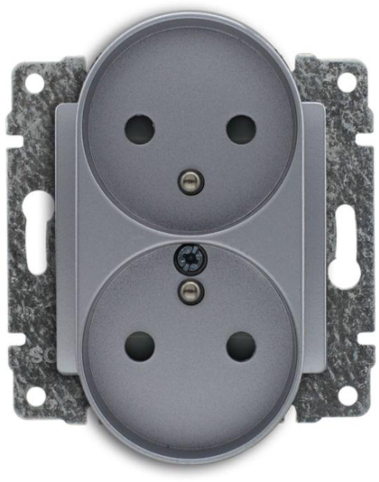 VENA Gniazdo podwójne z/u z przesłonami aluminium 514047