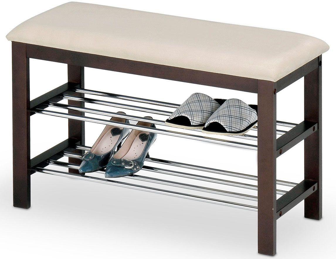 Drewniany stojak na obuwie siedzisko do przedpokoju Rexon - wenge