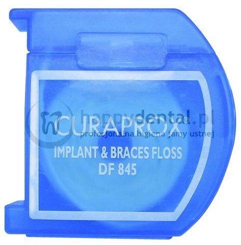 CURAPROX DF 845 Implant&Braces 50szt. - nić ortodontyczna dentystyczna z gąbką czyszczącą do pielęgnacji implantów oraz aparatów ortodontycznych