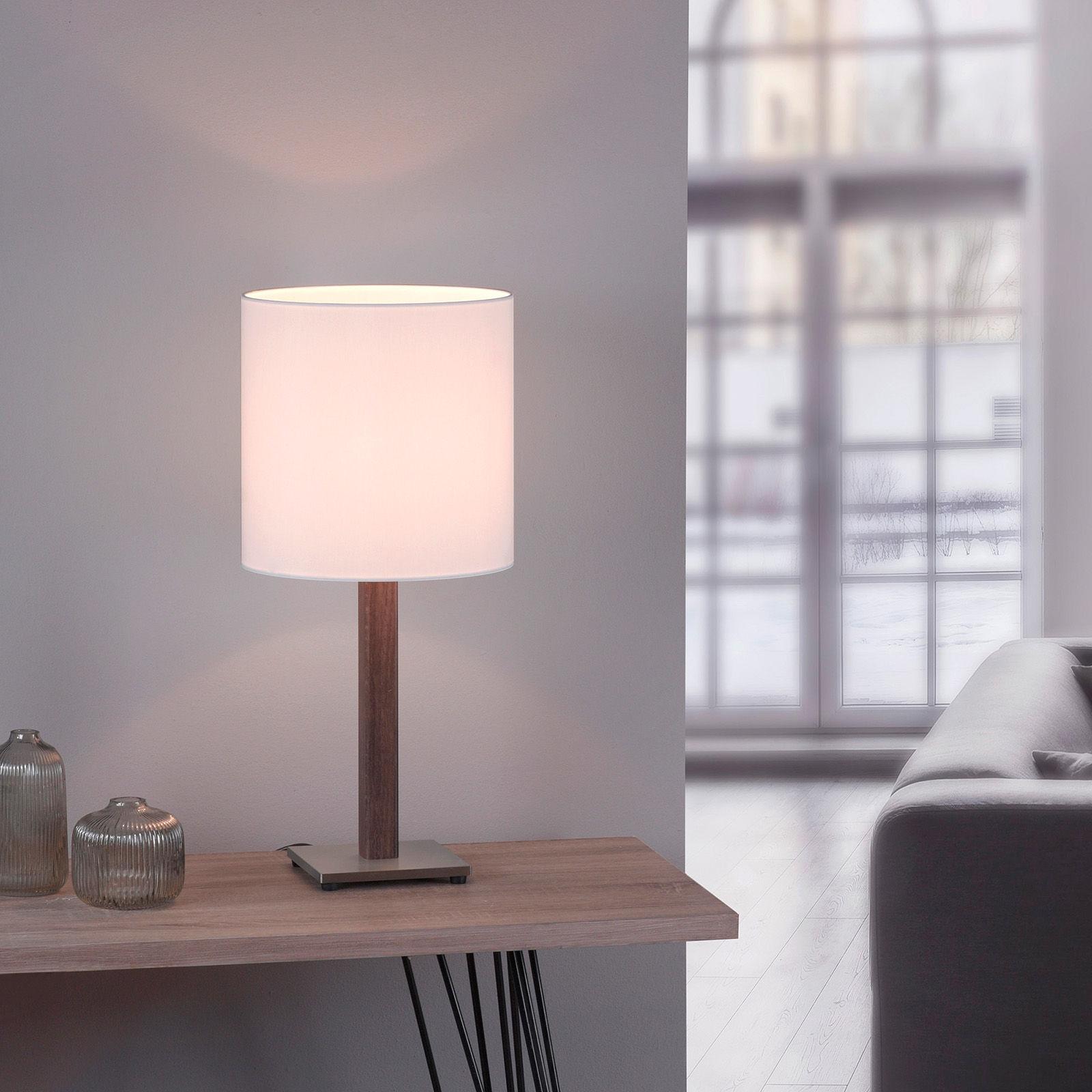 Lucande Elif lampa stołowa biała kątowa dąb ciemny