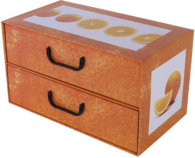 Pudełko kartonowe 2 szuflady poziome OWOCE POMARAŃCZA