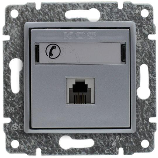 VENA Gniazdo telefoniczne pojedyncze RJ11 aluminium 514063