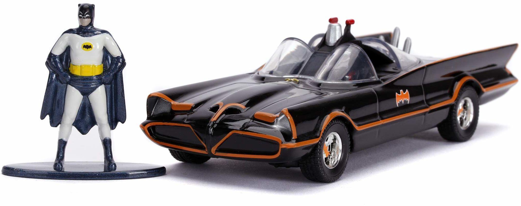 Jada Toys 253213002 1966 Classic Batmobile, zabawkowy samochód, otwierane drzwi, Die-Cast, wraz z figurką Batmana, skala 1:32, czarny