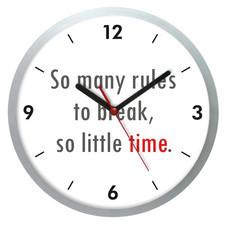 Zegar ścienny kwarcowy rules to break