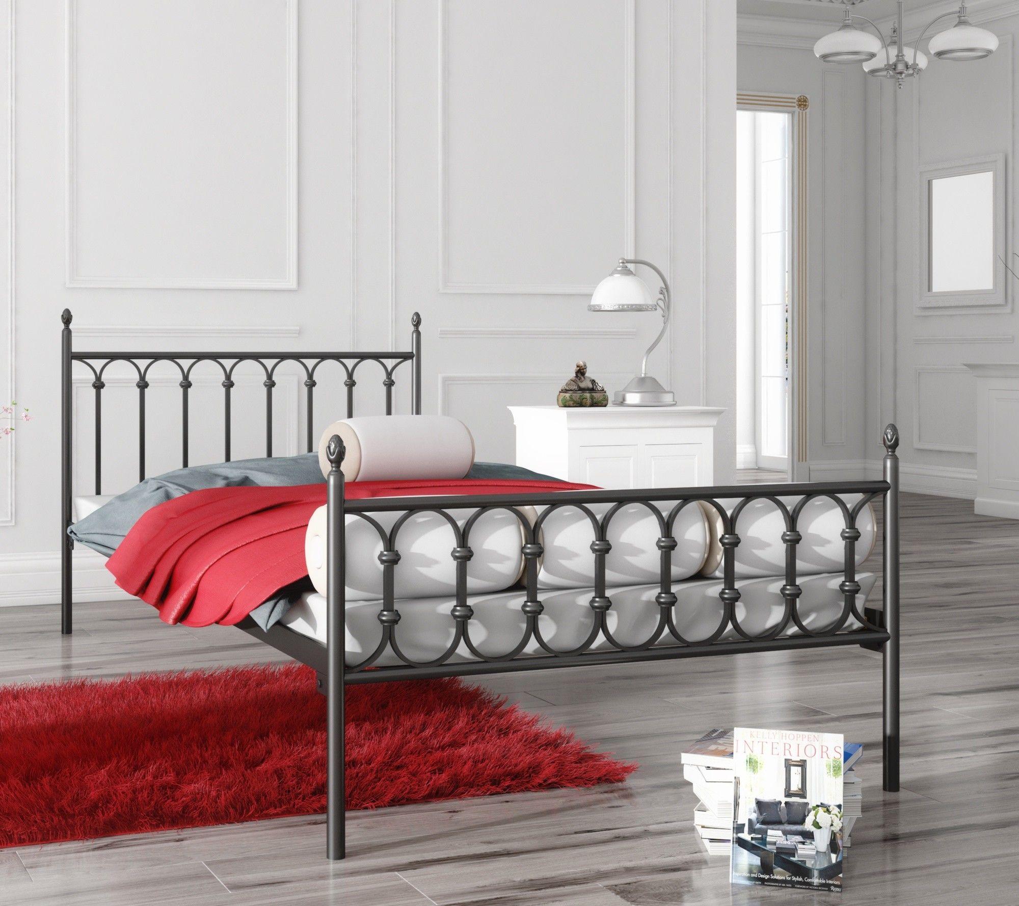 Łóżko metalowe wzór 8 ze stelażem pod materac
