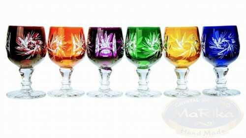 Kolorowe kryształowe kieliszki do wódki 40 ml Młynek Oliwka 6 sztuk