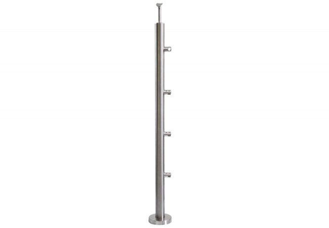 (1) Słupek schodowy z 4 przelotkami fi 12,h=96cm,stal nierdzewna inox AISI304 (A-VS90-4D12)