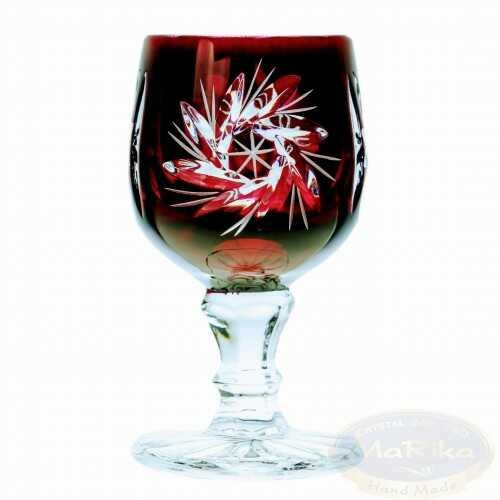 Rubinowe kryształowe kieliszki do wódki 40 ml Młynek Oliwka 6 sztuk