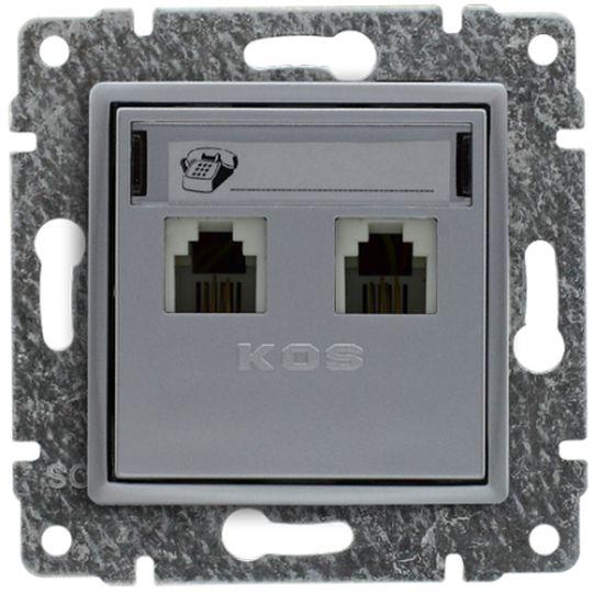 VENA Gniazdo telefoniczne podwójne 2xRJ11 aluminium 514064