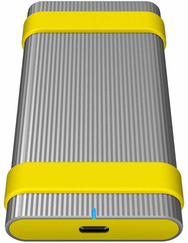 Sony Sl-MG5 zewnętrzny dysk twardy SSD (500 GB, do 1000 Mbps/s zapis/odczyt, pyło- i wodoszczelna (IP67), USB 3.1 typ C, w zestawie etykiety i gumowa taśma, szyfrowanie 256-bitowe), aluminium srebrne