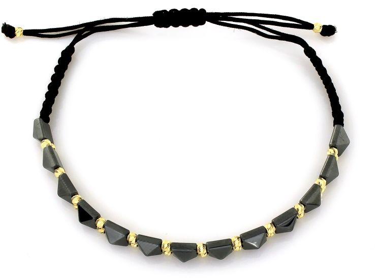 Złota bransoletka 585 sznurkowa z czarnym hematytem 0.95g