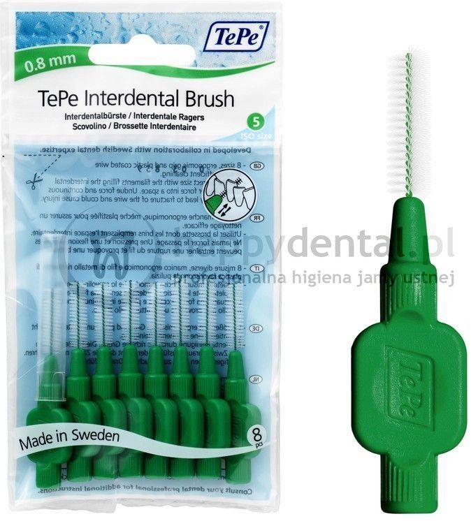 TEPE ID Original (0.8mm) zielone 8szt. - zestaw szczoteczek międzyzębowych (szczoteczki w wersji ORIGINAL)